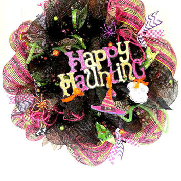 Happy Haunting Wreath/Happy Halloween Wreath/Halloween Wreath/October Wreath/Seasonal Wreath/ Fall Wreath/Halloween Decor/Halloween