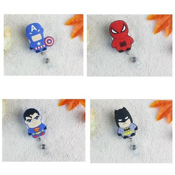 Free Shipping Promotional Gift Cartoon Heroes Retractable Reel For ID Badge Holder For Medical, Nurse 10pcs/lot