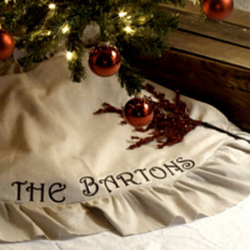 Family Name Ruffled Christmas Tree Skirt, Linen Tree Skirt, Neutral Colored, Sewn Burlap Tree Skirt, Rustic Christmas - 48 Inch, 48""