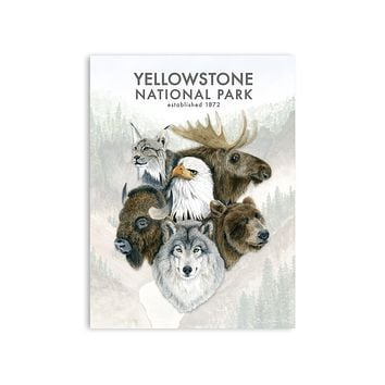 Wildlife of Yellowstone Watercolor Poster 1