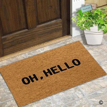 Autumn Fall welcome door mat doormat  Entrance Floor Mat Funny  Oh, Hello Designed Non-slip  23.6 by 15.7 Inch Non-woven Fabric AT_76_7