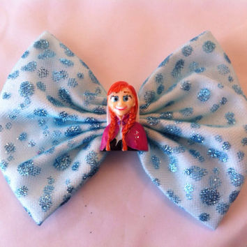 Disney Frozen Inspired Princess Anna Large Fabric Hair Bow