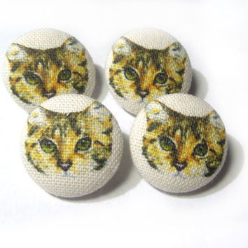 Fabric covered buttons Cats Kitten, bag purse ivory yellow buttons, funny cartoon cat children kids buttons, sewing buttons, sweater buttons