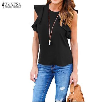 Women Blouse Summer O Sleeveless Ruffles Shirts Casual Slim Solid Blusas Plus Size Tee Tops