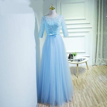 Robe  A-line Long Evening Dresses Sheer Lace Flowers Cap Sleeves Tulle  Dress Floor Length Evening Gown