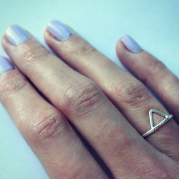 Sterling silver stacking ring - triangle ring, textured ring, silver ring, triangle stacking ring