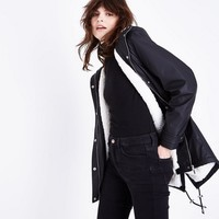 Black Borg Lined Anorak | New Look