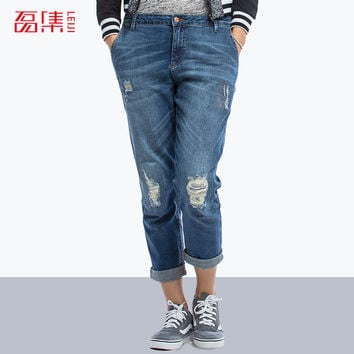 S- 6XL Blue 2015 Fashion Boyfriend Plus Size Women Denim Elastic hole Ripped Jeans femme cotton Capris Straight Pants mid waist