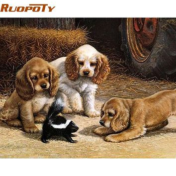RUOPOTY Play Dog Animals DIY Painting By Numbers Kits Drawing Paint On Canvas Home Wall Decor Handpainted Oil Painting Artwork