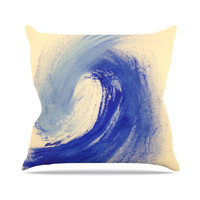 "Infinite Spray Art ""Waveology"" Tan Blue Outdoor Throw Pillow"