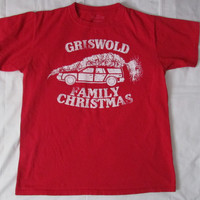 14-1121 Vintage Griswold Family Christmas T Shirt / 1980s Christmas Vacation Movie T Shirt / Red T Shirt / Christmas T Shirt / Movie T Shirt