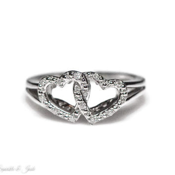 Sterling Silver Diamond Double Interlocking Hearts Design Ring