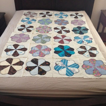 Feedsack Flower Quilt Blocks Hand  Stitched 1940's Vintage