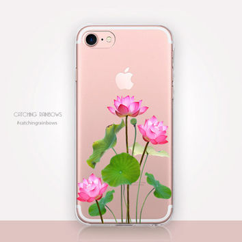 Lotus Clear Phone Case- Transparent Case - Clear Case - Transparent iPhone 7 - Clear iPhone 7 Plus - Gel Case - Soft TPU - iPhone SE