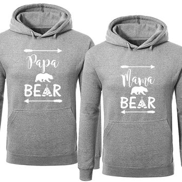 Bear Family Hoodie for Mama Bear & PAPA Bear Pullover Sweater- Heather Gray -Price for 1