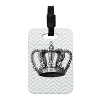 "Suzanne Carter ""Crown"" Blue Black Decorative Luggage Tag"