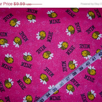 Valentine's fabric with glitter Bee Mine Be love cotton quilt quilting sewing material to sew crafting by the yard