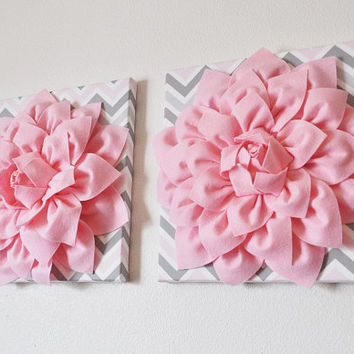 TWO Flower Wall Art Decor - Hot Pink And Gray Mix Matched Flower Canvas Wall Art Set - Baby Nursery Wall Decor - Flower Decor -