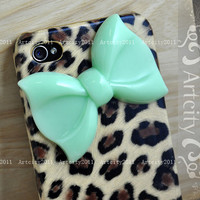 Bow Iphone 4 case, Iphone 4S case, Leopard Iphone 4 Case, Leopard Iphone 4S Case, Bowknot Iphone Case