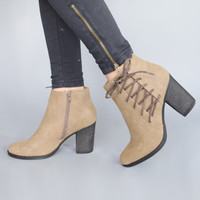 Tatum Lace Up Booties Taupe