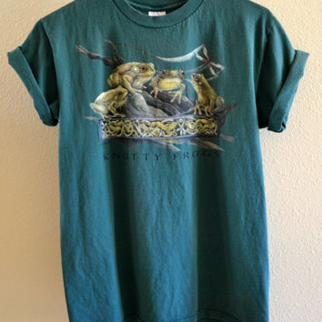 Knotty Frogs Graphic Tee Green Oversized 90's Vintage Large