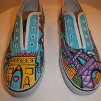 Paris theme: Handcrafted custom Doodle Graffiti Sneakers Shoes