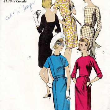 Retro 60s Jackie O style Dress Vogue 6005 Sewing Pattern Belted Waist High Neck Mad Men Fashion Wiggle Sheath Cocktail Party Dress Bust 34