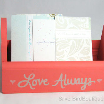 Wedding Advice Card Box, Advice for Bride and Groom Bin, Coral, Hearts, Wooden Wedding Keepsake Box, Love Always, Alternative Guest Book
