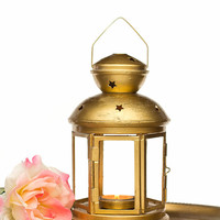Antique Gold Wedding Lantern - Shabby Chic - Customized Outdoor Lantern - Golden Style Candle Holder - Hostess Gift