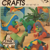 Vintage McCall's Crafts Pattern 2577 Plush Dinosuars Toys by  I. Digg Dinosaurs Uncut FF Stuffed Prehistoric Pets Sewing Patterns Supplies
