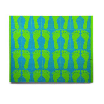 "Sreetama Ray ""Footprints Green"" Blue Aqua Birchwood Wall Art"
