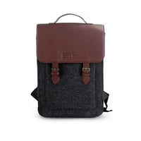 "Felt Backpack for Macbook Pro 15"", Felt satchel, Custom size, Laptop 15"" bag with Leather Shou"