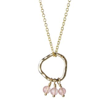 "Bead Trio and Circle ""Three Wishes"" Gold Necklace- Rose Quartz"