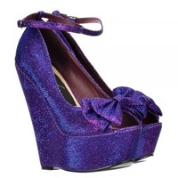 Onlineshoe Glitter Wedge Platform Shoes Ankle Strap - Peep Toe Bow - Gold, Silver, Purple, Dark Nude - Onlineshoe from Onlineshoe UK