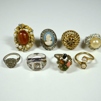 Antique Vintage Ring Lot 8 Rings Various Styles Ages Vintage Jewelry Lot Destash Ring Lot Cameo Ring Faux Pearl Ring Rhinestone Rings