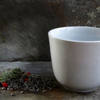Antique Ironstone Cup, Handleless Mug, Creamy White Iron Stone, Coffee or Tea, Dinnerware, Country Cottage, Farmhouse Decor