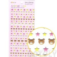 Adorable Teddy Bear Head and Star Shaped Animal Themed Puffy Stickers for Kids