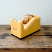 Industrial Scotch tape dispenser mid century office supply in cream yellow bakelite style