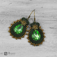 Small soutache earrings, Green soutache earrings, Orecchini soutache, Soutache bilateral, Little earrings, Boucles d'oreilles soutache