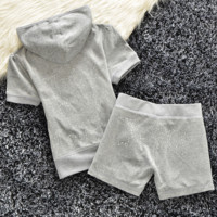 """Juicy  couture""Fashion Velvet tracksuit pants with short sleeves hot drill head Gray (9 color)"