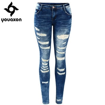 Women Low Waist Stretch Ripped Legs Skinny Washed Denim Jeans Pants (Blue) (Jeans Size In Inches 25-30) 2045 youaxon