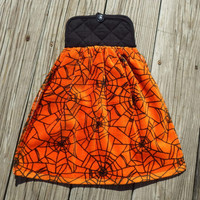"Halloween Themed, Hanging ""Pot Holder"" Top, Kitchen Towel, Oven Door Hanger, Spider Web"