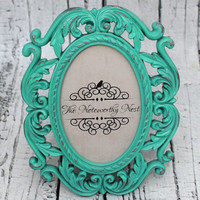 Ornate frame // ornate picture frame// Unique frame // Aqua Distressed Frame // bedroom decor // Aqua Decor // Baroque Frame // Beach Decor
