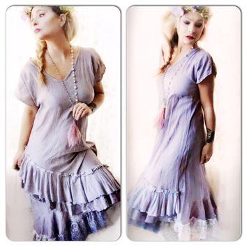 Upcycled flax dress, boho chic ruffle dress, magnolia pearl style, True Rebel clothing