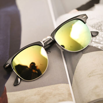 Lime Film Lens Reflective Sunglasses