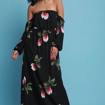 Strapless Floral Print Long Sleeve Maxi Dress | UrbanOG