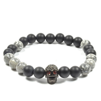 8 mm Onyx and Marble with CZ Skull