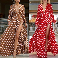 Try Everything Polka Dot Dress Red Long Sleeve Dress Women Autumn Boho Dresses For Women 2019 V Neck Sexy High Split Tunic Dress
