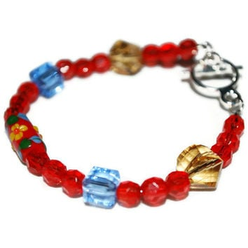 Red Yellow and Blue Flower beaded ooak Bracelet by chumaka on Etsy