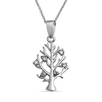 Wishing Tree of Life Root of Family CZ Necklace 925 Sterling Silver